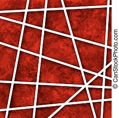 Red Abstract Geometric Background with White Paper Lines