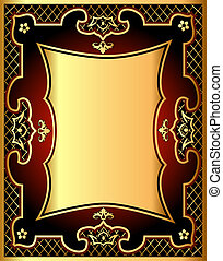 red background frame with gold(en) pattern and net