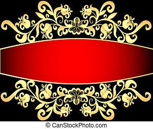red background frame with vegetable gold(en) pattern
