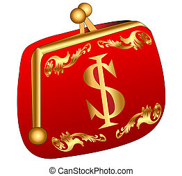 red purse with gold(en) dollar - illustration red purse with...