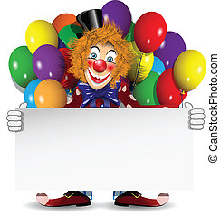 redhead clown with a banner and balloons