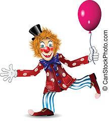 cheerful clown - illustration redheaded cheerful clown in...