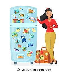illustration., refrigerador, lugares, agencia, vector, bastante, recuerdo, famoso, actuación, imanes, viajero, viaje, plano, concepto, mujer, joven