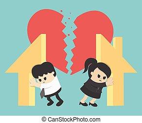 Illustration Relationship Divorce,division of property