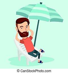illustration., relaxante, vetorial, cadeira, praia, homem