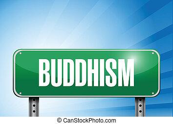 illustration religieuse, signe, bouddhisme, bannière, route