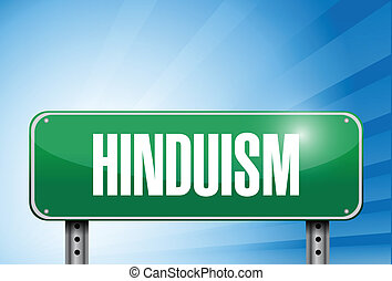 illustration religieuse, signe, hindouisme, bannière, route
