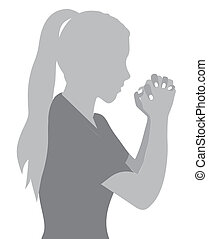 prayer to God - Illustration religious person prayer to God,...
