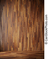 illustration render black interior with wood wall