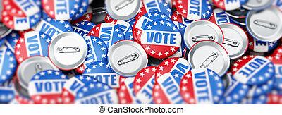 illustration, rendre, élection, fond, vote, blanc, 3d