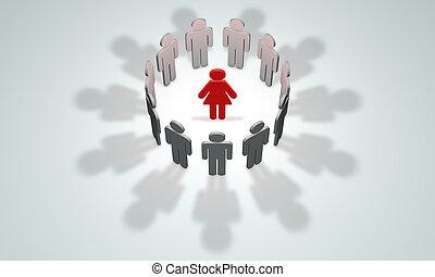 illustration, rendre, women-leader, (symbolic, people)., figures, 3d