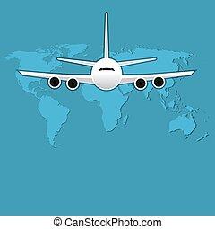 illustration., repülés, vektor, levegő, utas, civil, utazás, repülőgép