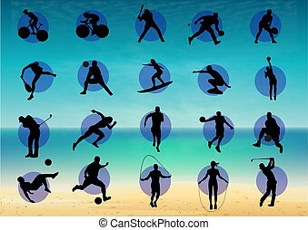 Illustration represents pictogram of varied sports, several...