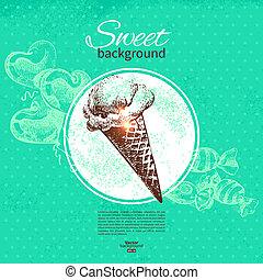 illustration., restaurante, vindima, mão, experiência., menu, desenhado, café, doce