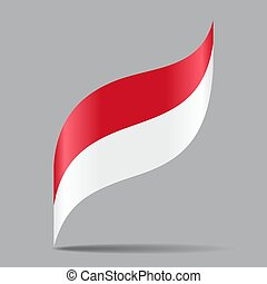 illustration., resumen, fondo., vector, bandera indonesia, ondulado