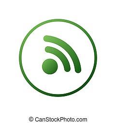 illustration., rete, internet, pulito, fili, simbolo., wifi, stile, segnale, icona, moderno, network.