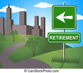 illustration, retraite, moyens, personnes agées, signe, pension, 3d