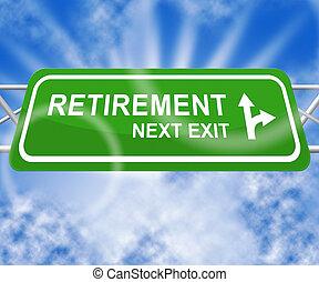 illustration, retraite, personnes agées, signe, signification, pension, 3d