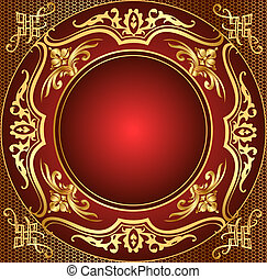 retro frame background with gold(en) pattern