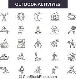 illustration:, ricreazione, set, attività agio, contorno, concetto, viaggiare, estate, attività esterne, vector., segni, linea, andando gita, montagna, icone