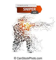 illustration., rifle., 軍, 撃つ, 点, 狙撃兵