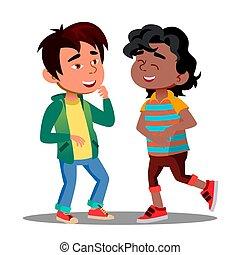 illustration, rigolote, tenue, isolé, ensemble, garçons, rire, vector., africaine, asiatique, ventre