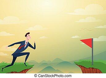 illustration., risiko, success., aus, hindernisse, fahne, erfolg, lücke, springen, rennender , vektor, durch, hügel, zwischen, geschäftsmann, karikatur, geschaeftswelt, concept., cliffs., rotes