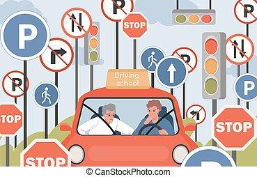 illustration., road., וקטור, להסתכל, בית ספר, לנהוג, שב, סטודנט שטוח, מורה, מכונית