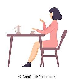 illustration., robe, assied, femme, table., rose, vecteur