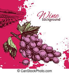 illustration., rocznik wina, ręka, tło., bryzg, projektować, retro, pociągnięty, wino, kropelka