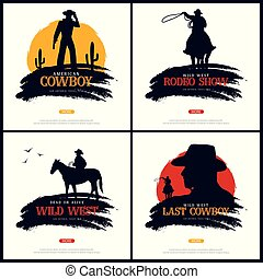illustration., rodeo., vecteur, texas., cow-boy, banners., ...