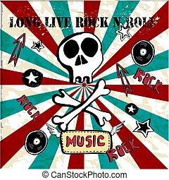 illustration., roll., vetorial, mundo, longo, texto, textura, rocha, bones., fundo, n, rolo, grunge, dia, cranio, viver