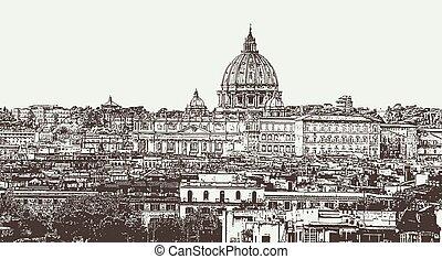 illustration, rom, stad, vektor, huvudstad, italien