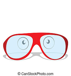 illustration, rouges, lunettes