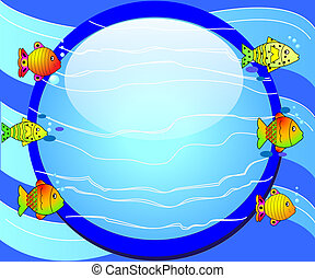 illustration round background with fish and glass