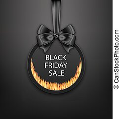 Round Frame with Black Bow, Fire Flame for Black Friday