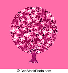 illustration round tree of butterflies on pink background