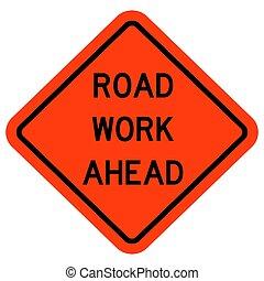 illustration, route, vecteur, travail, devant, signe