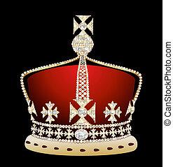 royal gold corona on black background