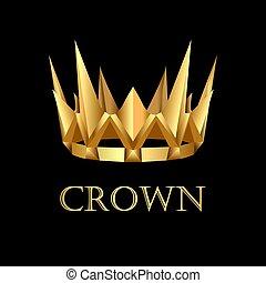 illustration royal gold corona on black background