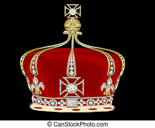 royal gold corona on black background - illustration royal ...