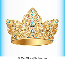 Illustration royal golden crown with an ornament and...