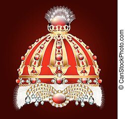 royal golden crown with an ornament and precious stones