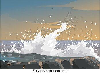 illustration, rugueux, émotion, métaphore, rochers, vague