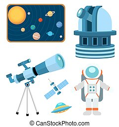 illustration., ruimte, heelal, iconen, meldingsbord, planeet...