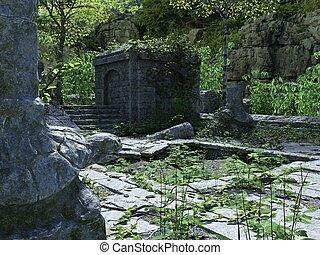 illustration, ruines, temple, forêt, 3d, abandonnés