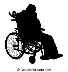 illustration., rullstol, en, handikappat, vektor, silhouette...