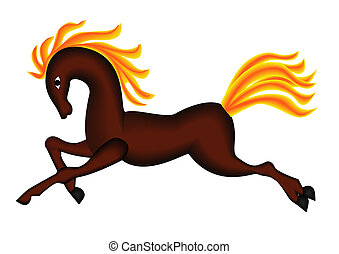 illustration running horse with developing burning mane