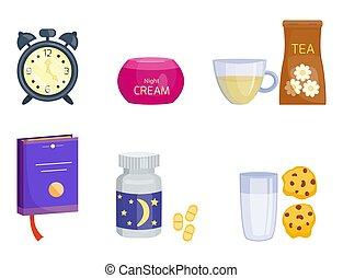 illustration, sätta, tid, elements., koppla av, ikonen, kollektion, måne, lugg, vektor, sömn, säng, natt, ikon, läggdags