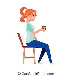 illustration, séance, rue, table, boire, vecteur, café, café, jeune femme